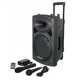 Ibiza 15-6017 Impianto Audio Portatile Cassa Attiva, 400 Watt, Ingressi USB SD Mp3 con Funzione Recording, 2 Microfoni, Batteria Integrata, Telecomando, 8'', Nero
