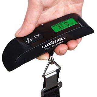 Luxebell® portatile LCD digitale portatile bagagli Scala nero Gadget pesatura Valigia £ 110 sterline con sensore di temperatura e Tara Funzione (nero)