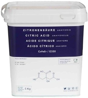 Acido Citrico 5 Kg Naturale al 100%, Qualità Alimentare, in polvere E330, Non-GMO, decalcificazione ecologica, NortemBio, CE prodotto
