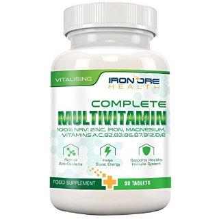 Complete Multivitamin - Il migliore prodotto per un'ottima salute - Vitalità, sostegno al sistema immunitario, Zinco, Ferro, Magnesio, 100% RDA di A C B2 B3 B6 B7 B12 D E per donne e uomini - 90 Tavolette - Ingredienti della migliore qualità