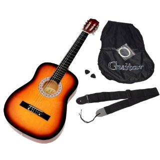 Commenti per ts - Chitarra acustica con kit per principianti contenente custodia, corde di ricambio e tracolla, colore: sunburst
