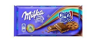 Milka - Chips Ahoy, Cioccolato al Latte delle Alpi con Pezzi di Biscotti, 100 g