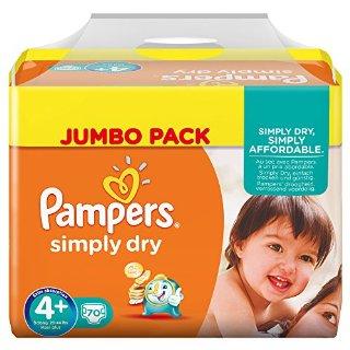 Pampers, Pannolini Simply Dry, misura 4+ (9 - 20 kg), confezione maxi, 2 confezioni (2 x 70 pz.)