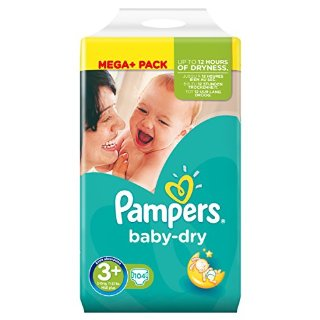 Pampers, Pannolini Baby Dry, misura 3+ (5 - 10 kg), 104 pz.