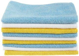 AmazonBasics - Panni in microfibra (confezione da 12 unità), color bianco, celeste e giallo