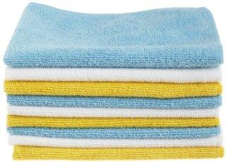 AmazonBasics - Panni in microfibra (confezione da 24 unità), color bianco, celeste e giallo