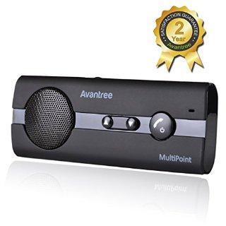 Avantree Vivavoce da Auto Bluetooth 4.0 Multipunto 10BP con supporto per aletta parasole e funzionalità GPRS e musica, vivavoce per iPhone, Samsung e altre marche