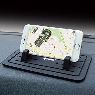 Ipow nuovo Supporto antiscivolo per cruscotto auto per Phoe Samsung S5/S4/S3/iPhone 4/5/5s/6/6s (plus) e GPS,nero support di Tablet PC