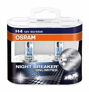 OSRAM NIGHT BREAKER UNLIMITED H4 Lampada alogena per proiettori  64193NBU-HCB 110% in più di luce, 20% più bianca - confezione Duobox