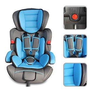 Babyfield - Seggiolone auto rialzo blu per bambino lotto 1/2/3 - Sedile di sicurezza da 9kg a 36kg