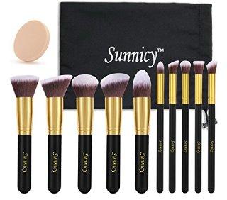 Stylemaster 10 pezzi Set premium di pennelli sintetici Kabuki per il make up per fondotinta liquidi, cosmetici crema & minerali, cipria, eyeliner, per miscelare, blush con pochette in omaggio -nero dorato