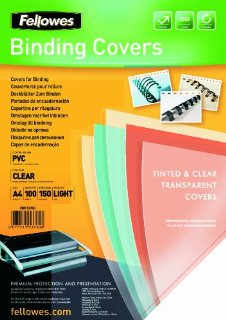 Fellowes Copertine per Rilegatrice in PVC trasparente, 150 mic, 100 pezzi, A4