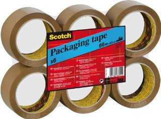 Scotch 6023 Nastro per Imballo, 50mm x 66m, 6 Rotoli in Flatpack, Marrone Avana