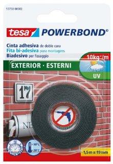 Tesa 55750-00002-02 Powerbond Nastro Biadesivo Forte per Esterni, 1,5m:19mm