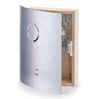 Zeller 13846 - Appendichiavi in faggio ed acciaio INOX, 21,5 x 5,5 x 24,5 cm