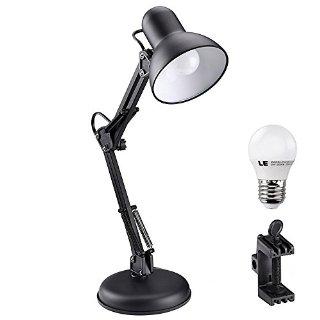 LE Forcellone lampada da tavolo, 5W G45 E27 LED lampadina incluso, Pari a Lampada da 40W ad Incandescenza, Luce Bianca Diurna, Regolare E27 Presa Dimensioni, C- morsetto Lampada da tavolo Montato, Lampada da scrivania Architetti
