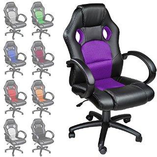 TecTake Poltrona Sedia direzionale da ufficio Racer classe di lusso - disponibile in diversi colori (Porpora)