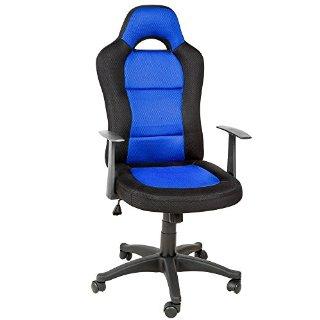 TecTake Poltrona sedia direzionale da ufficio racer sportiva nero blu