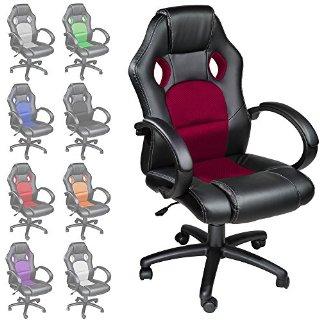 TecTake Poltrona Sedia direzionale da ufficio Racer classe di lusso - disponibile in diversi colori (Rosso Vino)
