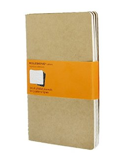 Ruled cahier - kraft cover large. Set 3 quaderni a righe