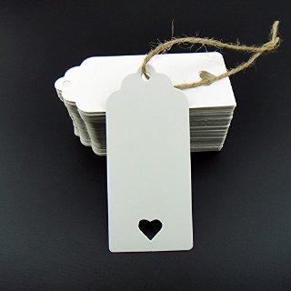 Gzzhongheng - Bigliettini di carta kraft da personalizzare, con cuore ritagliato, 100 pezzi, per confetti, regali, valige, prezzi, ecc., colore: bianco