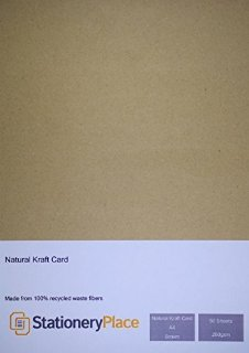 Stationery Place Thick - Brown Recycled Natural Kraft Card - A4 280 GSM 50 Sheet Pack