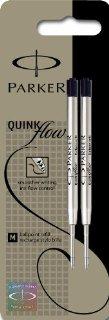 Parker Quinkflow - Confezione da 2 ricariche per penna a sfera, tratto medio, colore nero