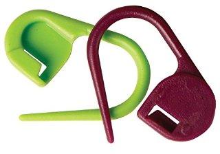 KnitPro - Marcatori in plastica da maglia con chiusura, confezione da 30 pezzi, colore: Viola/Verde