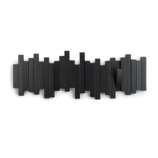 Umbra - Appendiabiti da parete con ganci, colore: Nero