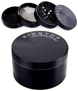 Kingtop 4-parte Herb Tabacco Grinder (3.0-pollici, Nero)