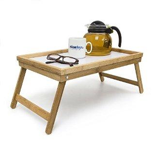 Relaxdays, Vassoio da letto in legno, richiudibile, Marrone (Braun)