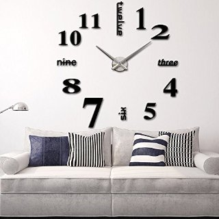 Anself Modern Wall DIY orologio Grande Guarda Decor Adesivi effetto specchio acrilico decalcomania domestica di vetro rimovibile Decoration