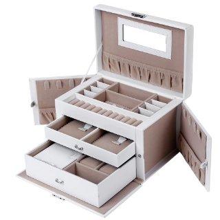 Songmics Portagioie Scatole per gioielli Scatola Custodia box Scatola anello JBC121W