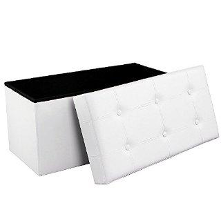 Songmics 76 x 38 x 38 cm Pouf Poggiapiedi Sgabello Pieghevole carico max. 300 kg Bianco LSF106