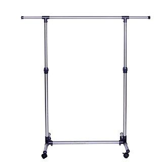 Songmics Appendiabiti Attaccapanni Porta Abiti a rotelle con ruote in acciaio altezza larghezza regolabile Stand Stender LLR01L