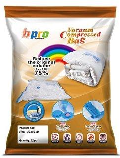 DIBAG - Sacchetti di immagazzinaggio a vuoto, salvaspazio (80 x 60 cm) per l'abbigliamento, Piumini, Biancheria da letto, cuscini, tende, 12 pezzi