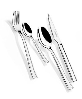 Monix, Set di 24 posate in acciaio inox, con coltelli per bistecca