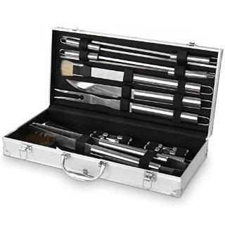 broil-master Set accessori posate barbecue grigliata kit accessori barbecue in acciaio inox da 18 pezzi