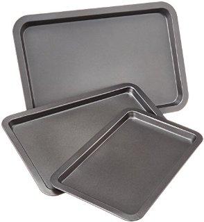 AmazonBasic - Set di 3 teglie da forno