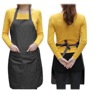 SODIAL(TM) Unisex Grembiule da Cucina con 2 tasche Nero in Medio