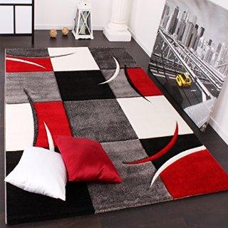 Tappeto Di Design Orlo Modello A Quadri Nei Colori Bianco Rosso Grigio Nero, Dimension:160x230 cm