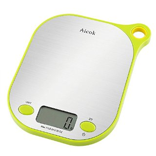 Aicok Bilancia da cucina digitale, Basamento in acciaio inox, 11lb / 5kg Precisione 1grammo