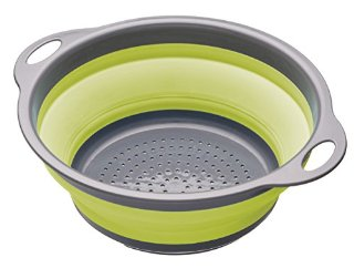 Kitchen Craft Colourworks, Scolapasta pieghevole, 24 cm, colore: Verde