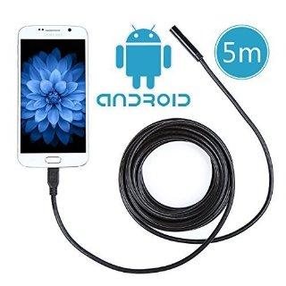 Crenova® iScope Endoscopio Android Smartphone USB 2.0 Megapixel CMOS HD Endoscopio palmare digitale impermeabile con fotocamera per Samsung Galaxy/Note/SONY/Nexus/ sistema Android con funzione OTG (cavo da 5 metri)