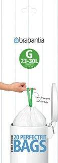 Brabantia PerfectFit Bags G Sacchi per Spazzatura, 23-30 l, Bianco, Rotolo da 20 Sacchetti