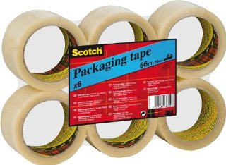 Scotch 6055 Nastro per Imballo, 50mm x 66m, 6 Rotoli in Flatpack, Trasparente