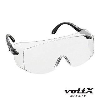 voltX 'Overspecs' Grandi Occhiali di Protezione (trasparenti) - Indossabili sopra i vostri Occhiali Normali - Bracchi Regolabili - Anti-appannamento / Anti-graffio, UV380 - CE EN 166F certificato Occhiali da Lavoro / Occhiali di Sicurezza