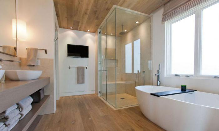 Bagno combinato in un loft high-tech scandinavo